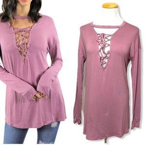 😻3/$15 Cherish Mauve Long Sleeve Lace Chest Top
